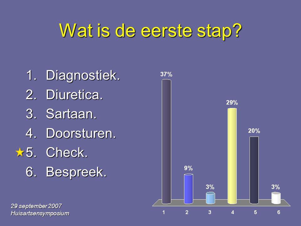 29 september 2007 Huisartsensymposium Wat is de eerste stap.
