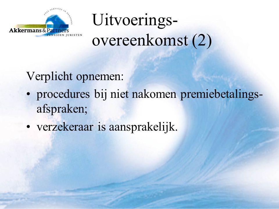 Uitvoerings- overeenkomst (2) Verplicht opnemen: •procedures bij niet nakomen premiebetalings- afspraken; •verzekeraar is aansprakelijk.