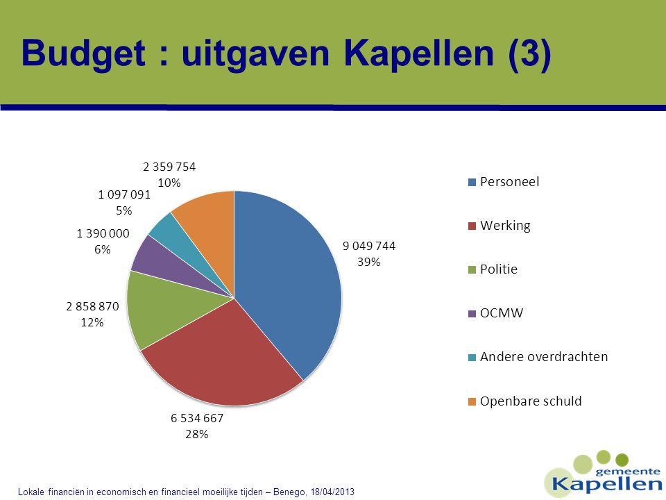 Budget : uitgaven Kapellen (3) Lokale financiën in economisch en financieel moeilijke tijden – Benego, 18/04/2013