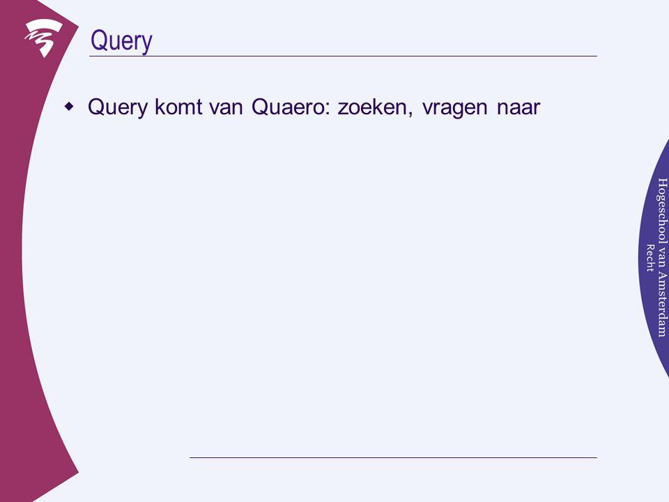 Query  Query komt van Quaero: zoeken, vragen naar