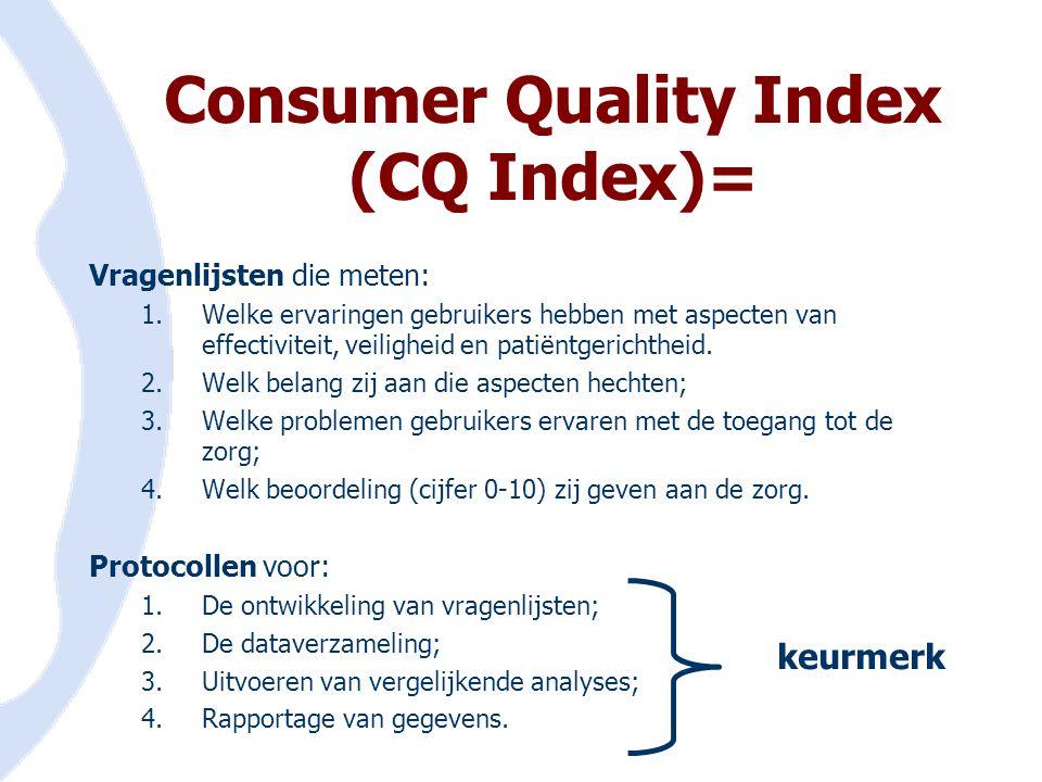 Consumer Quality Index (CQ Index)= Vragenlijsten die meten: 1.Welke ervaringen gebruikers hebben met aspecten van effectiviteit, veiligheid en patiënt