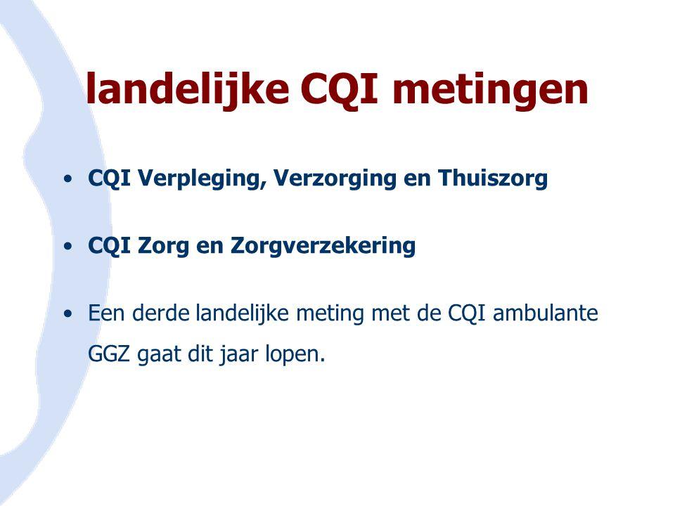 landelijke CQI metingen •CQI Verpleging, Verzorging en Thuiszorg •CQI Zorg en Zorgverzekering •Een derde landelijke meting met de CQI ambulante GGZ ga
