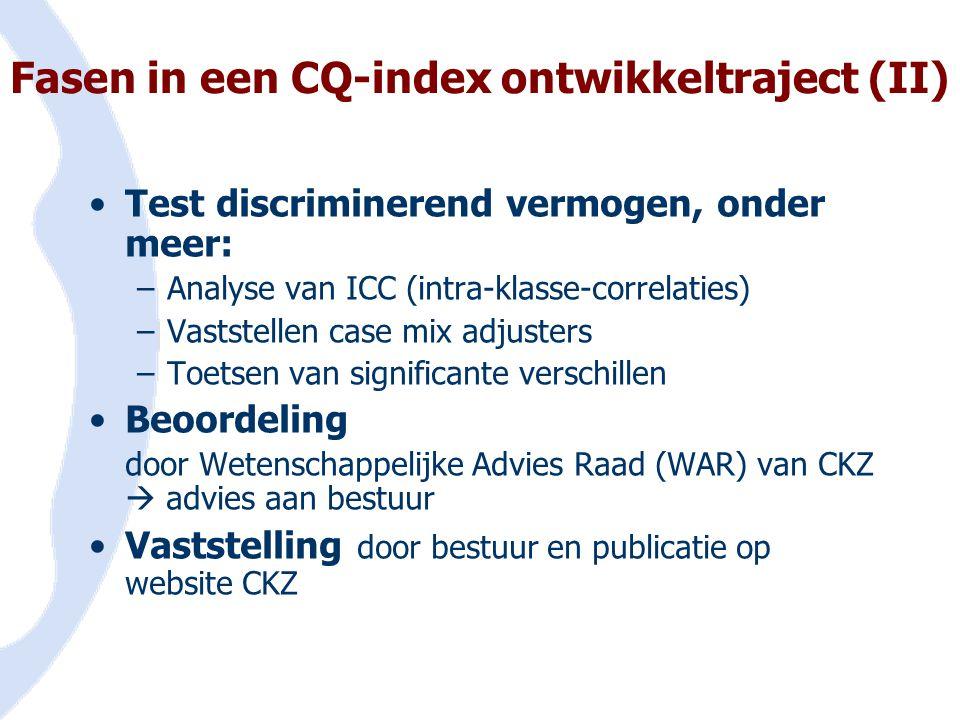 Fasen in een CQ-index ontwikkeltraject (II) •Test discriminerend vermogen, onder meer: –Analyse van ICC (intra-klasse-correlaties) –Vaststellen case m