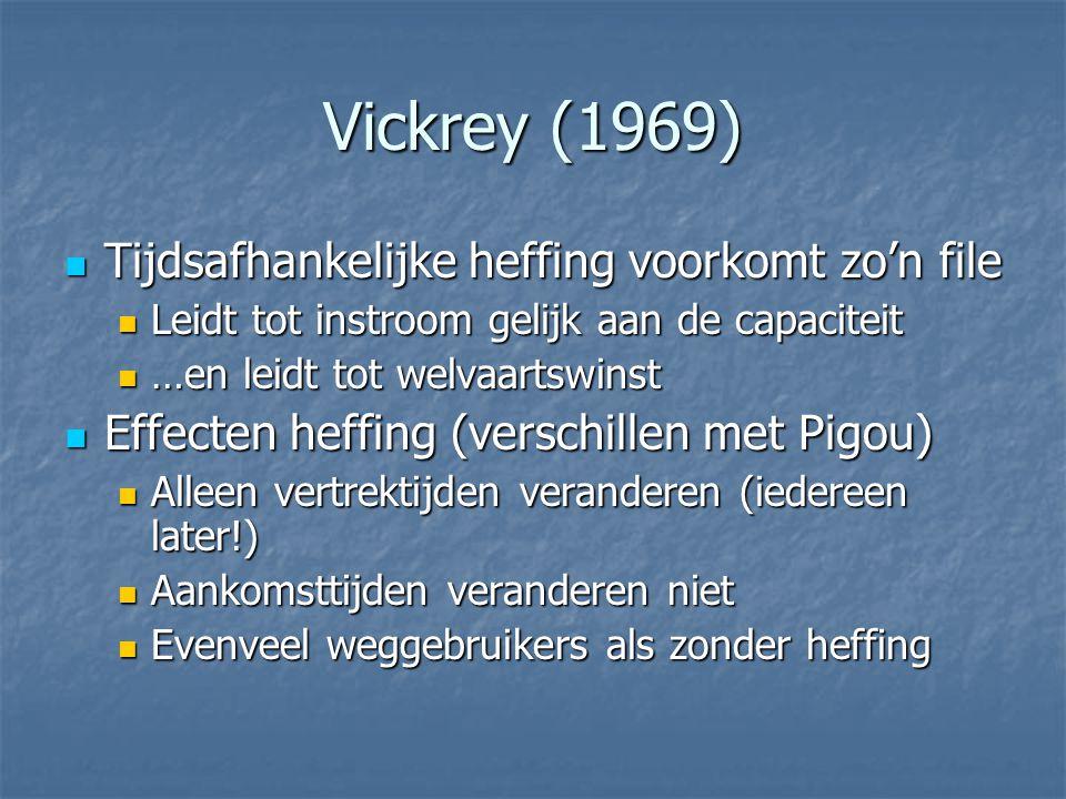 Vickrey (1969)  Tijdsafhankelijke heffing voorkomt zo'n file  Leidt tot instroom gelijk aan de capaciteit  …en leidt tot welvaartswinst  Effecten heffing (verschillen met Pigou)  Alleen vertrektijden veranderen (iedereen later!)  Aankomsttijden veranderen niet  Evenveel weggebruikers als zonder heffing
