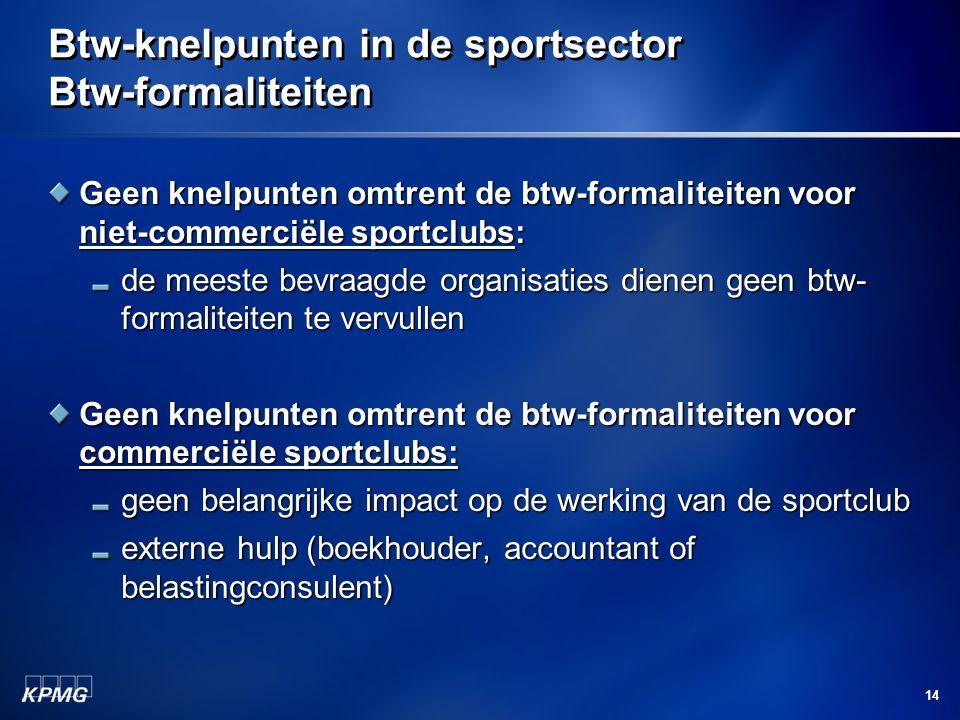 14 Btw-knelpunten in de sportsector Btw-formaliteiten Geen knelpunten omtrent de btw-formaliteiten voor niet-commerciële sportclubs: de meeste bevraagde organisaties dienen geen btw- formaliteiten te vervullen Geen knelpunten omtrent de btw-formaliteiten voor commerciële sportclubs: geen belangrijke impact op de werking van de sportclub externe hulp (boekhouder, accountant of belastingconsulent)