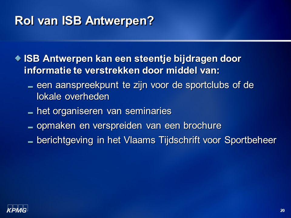 20 Rol van ISB Antwerpen.