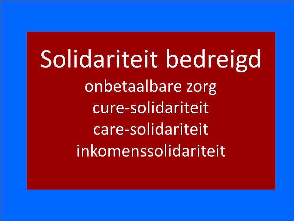 Solidariteit bedreigd onbetaalbare zorg cure-solidariteit care-solidariteit inkomenssolidariteit