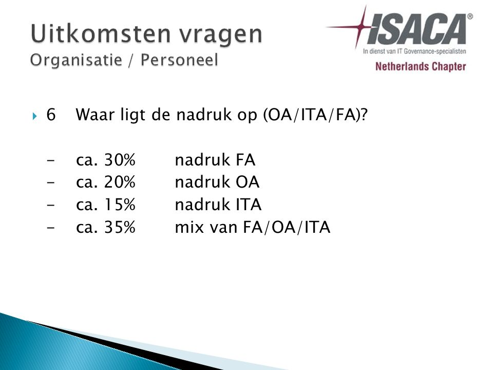  6Waar ligt de nadruk op (OA/ITA/FA). -ca. 30% nadruk FA -ca.