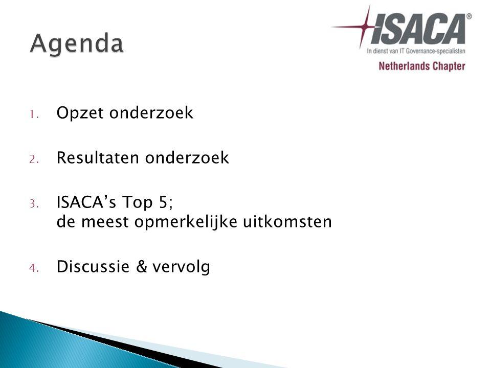 1. Opzet onderzoek 2. Resultaten onderzoek 3. ISACA's Top 5; de meest opmerkelijke uitkomsten 4.