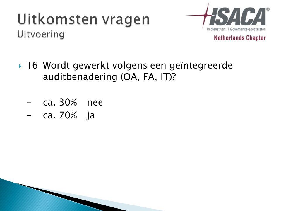  16Wordt gewerkt volgens een geïntegreerde auditbenadering (OA, FA, IT) -ca. 30%nee -ca. 70% ja