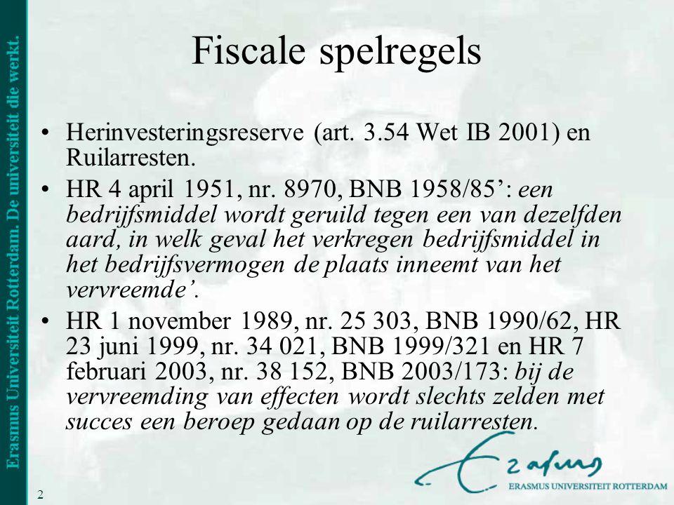 20 Fiscale spelregels •Herinvesteringsreserve (art. 3.54 Wet IB 2001) en Ruilarresten. •HR 4 april 1951, nr. 8970, BNB 1958/85': een bedrijfsmiddel wo