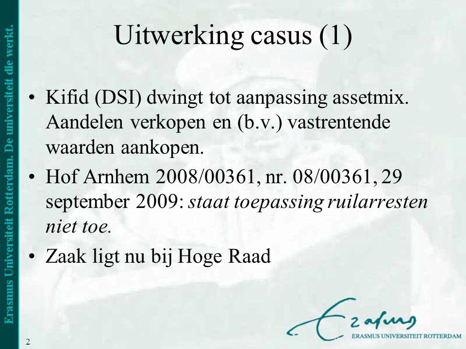 22 Uitwerking casus (1) •Kifid (DSI) dwingt tot aanpassing assetmix. Aandelen verkopen en (b.v.) vastrentende waarden aankopen. •Hof Arnhem 2008/00361