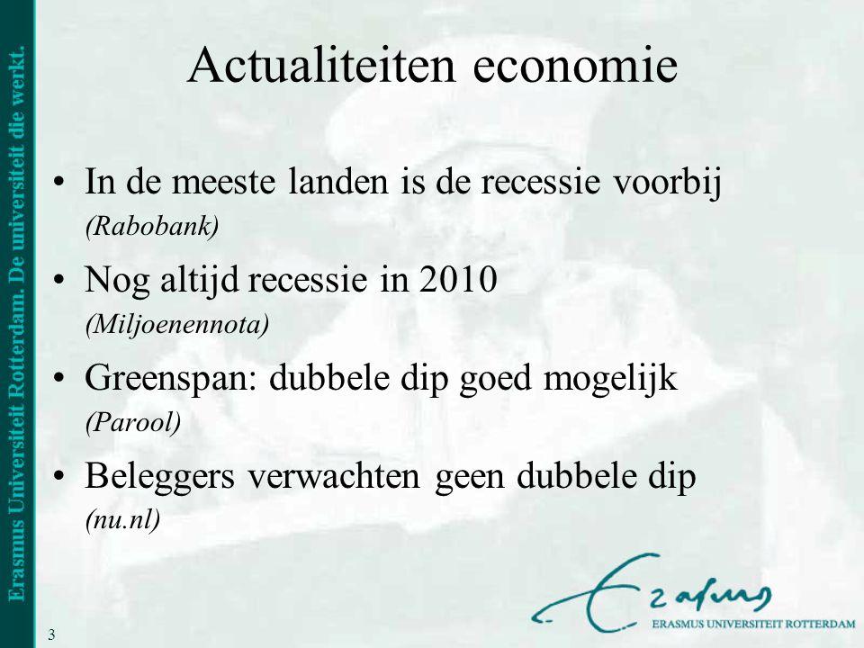 3 Actualiteiten economie •In de meeste landen is de recessie voorbij (Rabobank) •Nog altijd recessie in 2010 (Miljoenennota) •Greenspan: dubbele dip g
