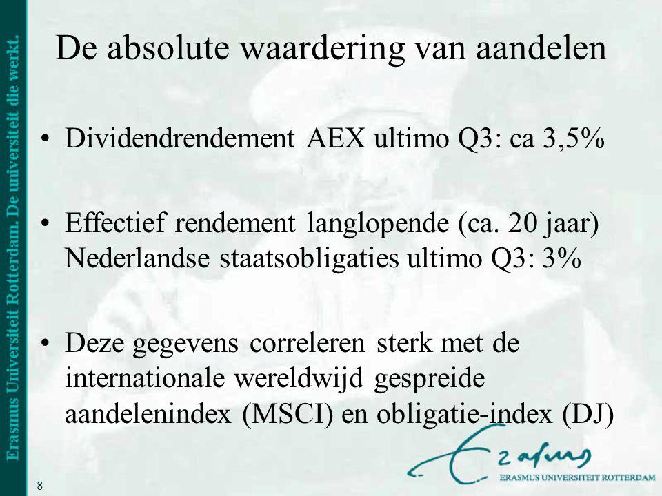8 De absolute waardering van aandelen •Dividendrendement AEX ultimo Q3: ca 3,5% •Effectief rendement langlopende (ca. 20 jaar) Nederlandse staatsoblig