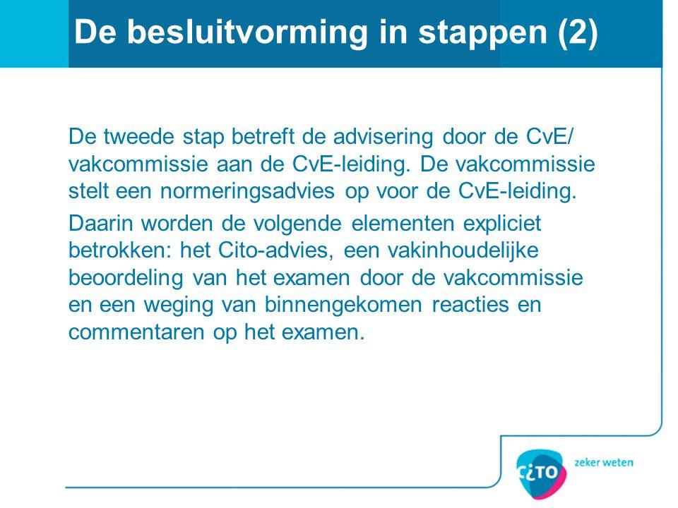 De besluitvorming in stappen (2) De tweede stap betreft de advisering door de CvE/ vakcommissie aan de CvE-leiding. De vakcommissie stelt een normerin