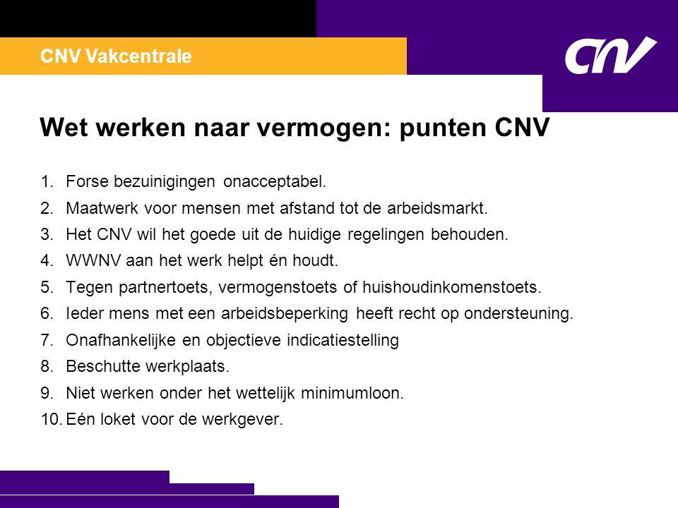 CNV Vakcentrale Wet werken naar vermogen: punten CNV 1.Forse bezuinigingen onacceptabel. 2.Maatwerk voor mensen met afstand tot de arbeidsmarkt. 3.Het