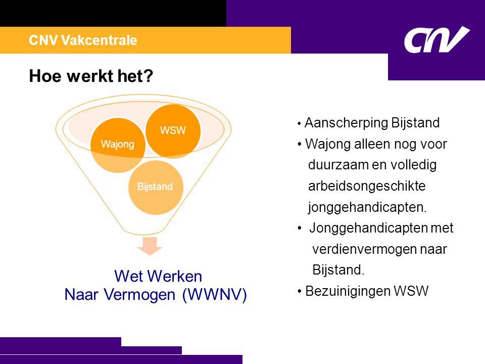 CNV Vakcentrale Hoe werkt het? Wet Werken Naar Vermogen (WWNV) BijstandWajongWSW • Aanscherping Bijstand • Wajong alleen nog voor duurzaam en volledig