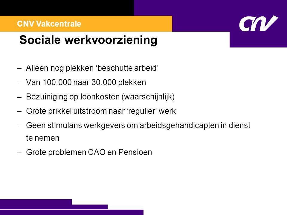 CNV Vakcentrale Sociale werkvoorziening –Alleen nog plekken 'beschutte arbeid' –Van 100.000 naar 30.000 plekken –Bezuiniging op loonkosten (waarschijn