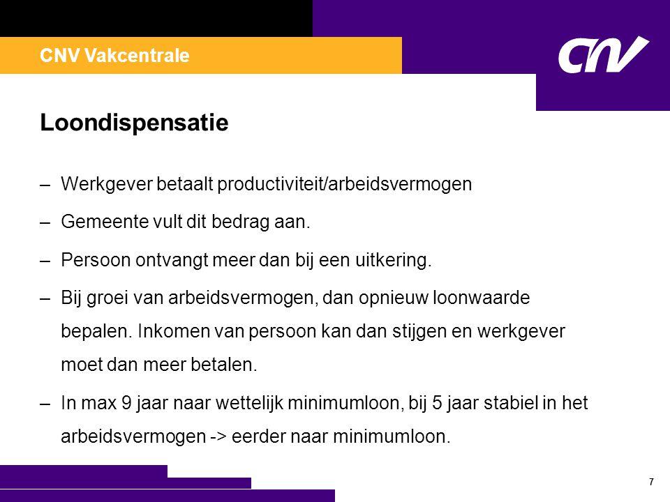CNV Vakcentrale Loondispensatie –Werkgever betaalt productiviteit/arbeidsvermogen –Gemeente vult dit bedrag aan. –Persoon ontvangt meer dan bij een ui