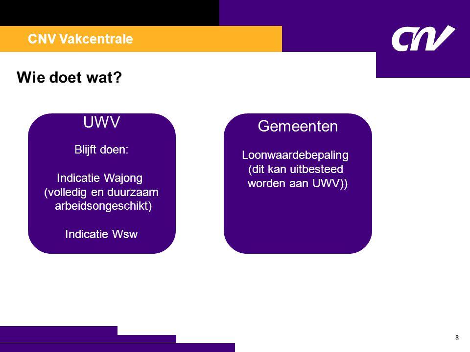 CNV Vakcentrale Wie doet wat? 8 UWV Blijft doen: Indicatie Wajong (volledig en duurzaam arbeidsongeschikt) Indicatie Wsw Gemeenten Loonwaardebepaling