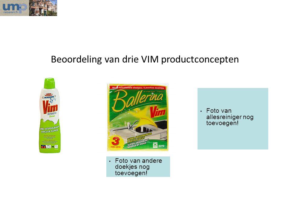 Beoordeling van drie VIM productconcepten • Foto van allesreiniger nog toevoegen! • Foto van andere doekjes nog toevoegen!