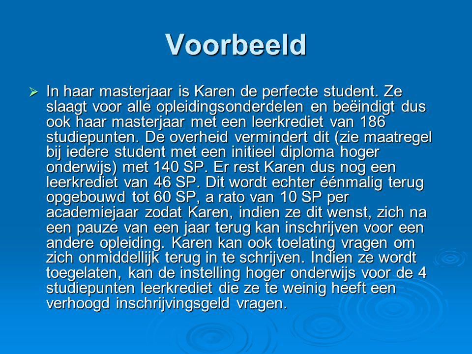 Voorbeeld  In haar masterjaar is Karen de perfecte student. Ze slaagt voor alle opleidingsonderdelen en beëindigt dus ook haar masterjaar met een lee