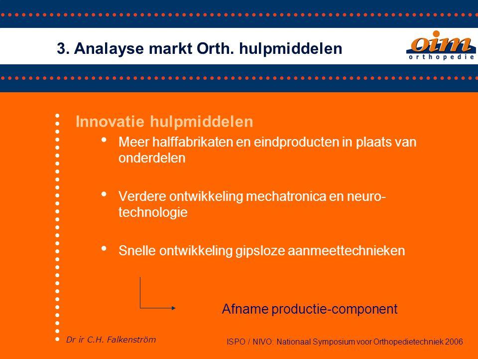• Nieuwe partijen op de markt, verschillende product/marktcombinaties • Combinaties van diensten op één plek, verbreding dienstverlening ISPO / NIVO: Nationaal Symposium voor Orthopedietechniek 2006 3.