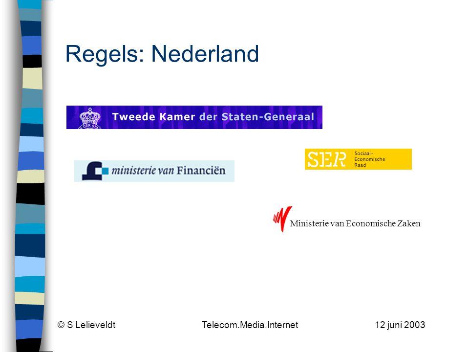 © S Lelieveldt Telecom.Media.Internet 12 juni 2003 Toezicht Nederland COLLEGE BESCHERMING PERSOONSGEGEVENS