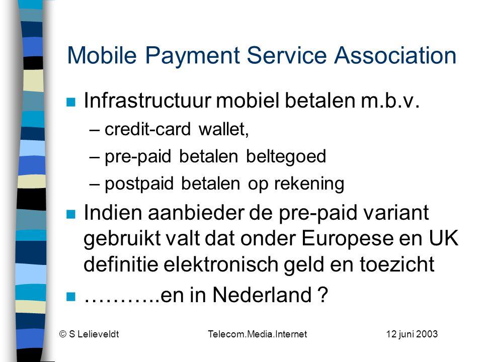 © S Lelieveldt Telecom.Media.Internet 12 juni 2003 Sinds 15-04-03!