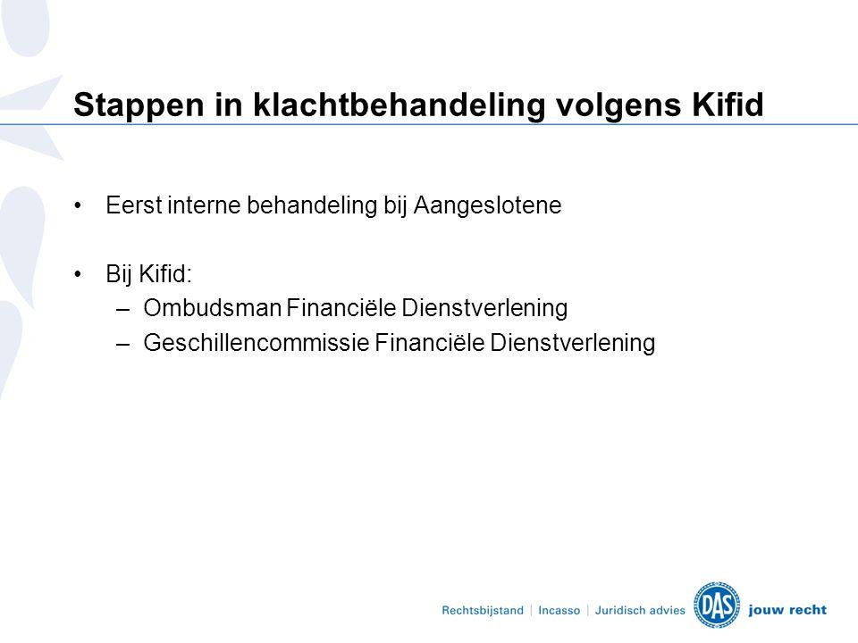 Stappen in klachtbehandeling volgens Kifid •Eerst interne behandeling bij Aangeslotene •Bij Kifid: –Ombudsman Financiële Dienstverlening –Geschillencommissie Financiële Dienstverlening