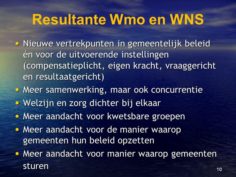 10 Resultante Wmo en WNS • Nieuwe vertrekpunten in gemeentelijk beleid én voor de uitvoerende instellingen (compensatieplicht, eigen kracht, vraaggeri