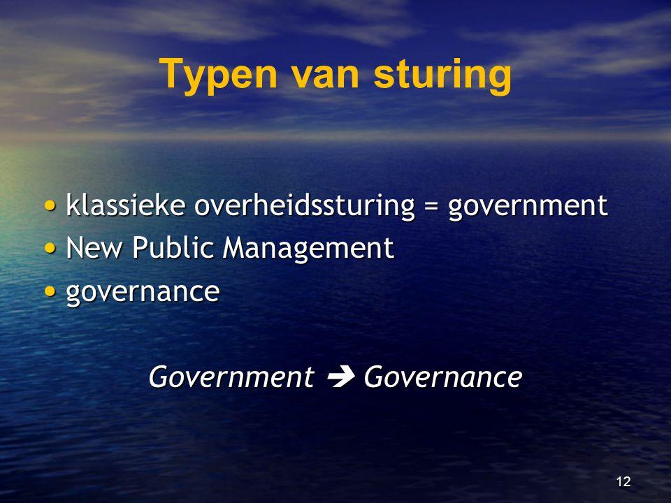 12 Typen van sturing • klassieke overheidssturing = government • New Public Management • governance Government  Governance
