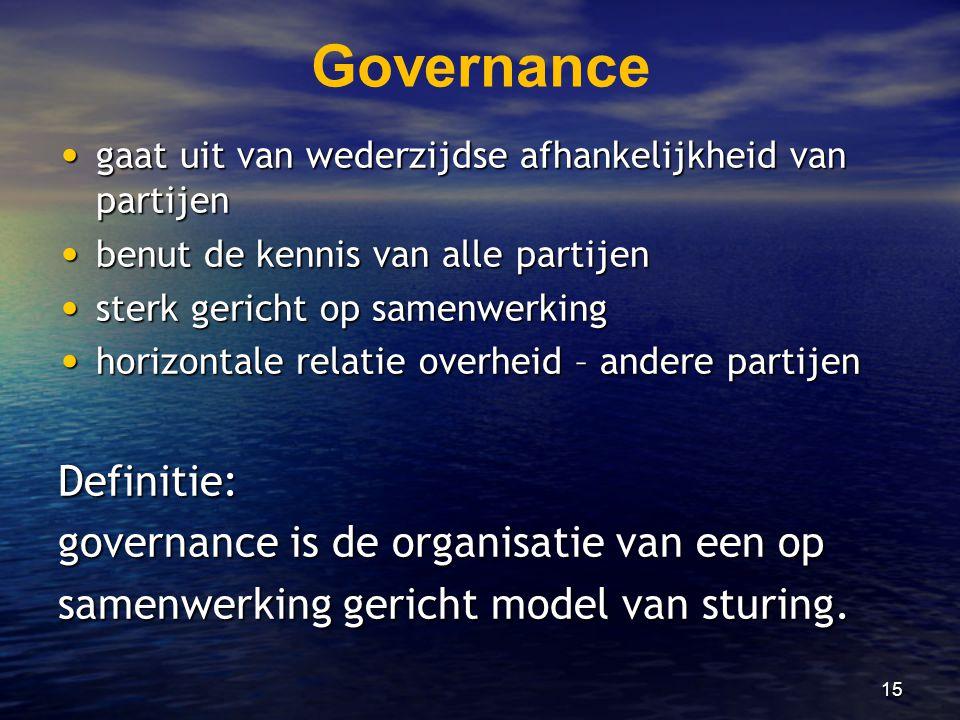 15 Governance • gaat uit van wederzijdse afhankelijkheid van partijen • benut de kennis van alle partijen • sterk gericht op samenwerking • horizontal