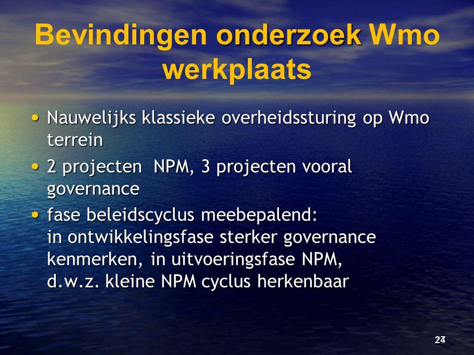 onderzoek Bevindingen onderzoek Wmo werkplaats • Nauwelijks klassieke overheidssturing op Wmo terrein • 2 projecten NPM, 3 projecten vooral governance