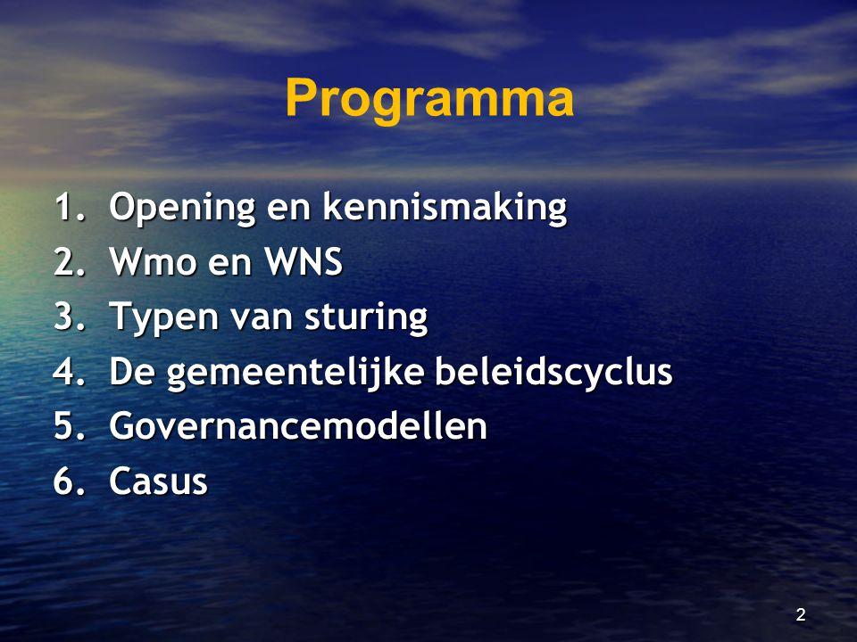 2 Programma 1.Opening en kennismaking 2.Wmo en WNS 3.Typen van sturing 4.De gemeentelijke beleidscyclus 5.Governancemodellen 6.Casus