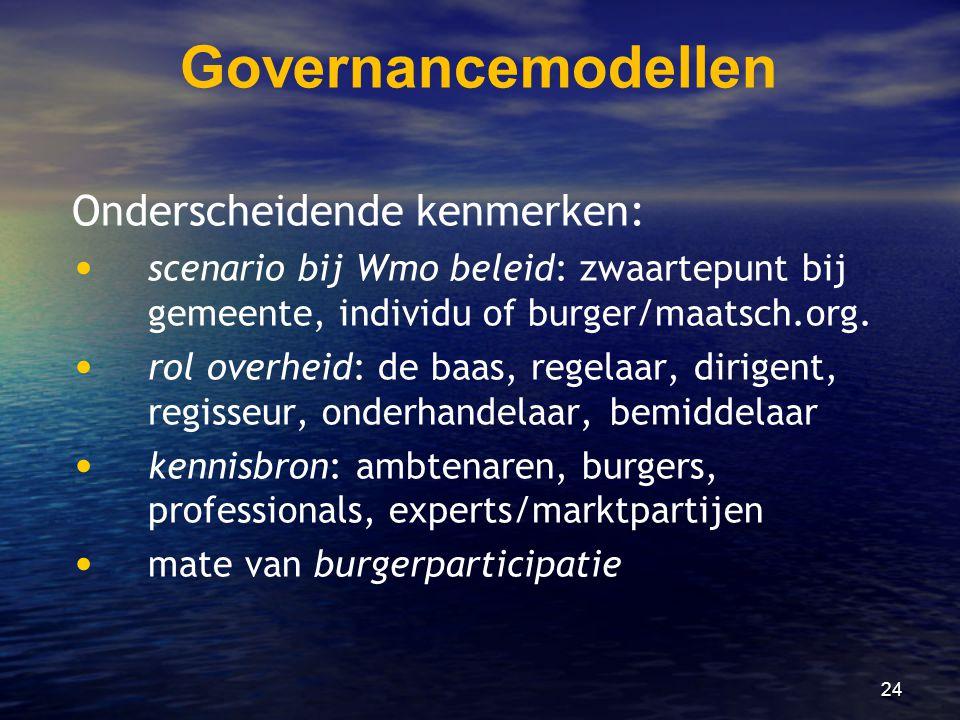 Governancemodellen Onderscheidende kenmerken: • • scenario bij Wmo beleid: zwaartepunt bij gemeente, individu of burger/maatsch.org. • • rol overheid: