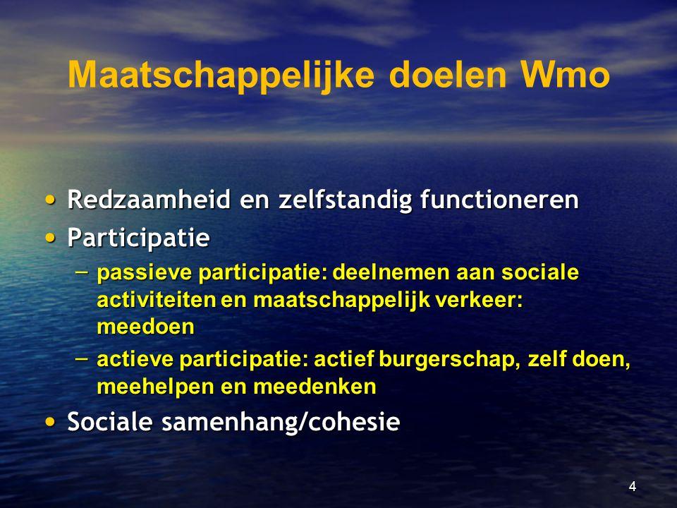4 Maatschappelijke doelen Wmo • Redzaamheid en zelfstandig functioneren • Participatie – passieve participatie: deelnemen aan sociale activiteiten en