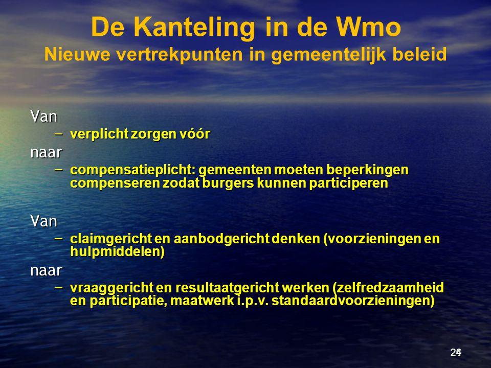 De Kanteling in de Wmo Nieuwe vertrekpunten in gemeentelijk beleid Van – verplicht zorgen vóór naar – compensatieplicht: gemeenten moeten beperkingen