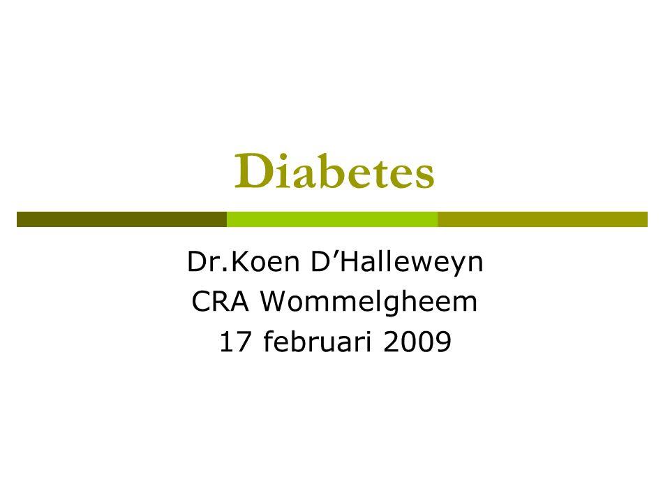 Diabetes Dr.Koen D'Halleweyn CRA Wommelgheem 17 februari 2009