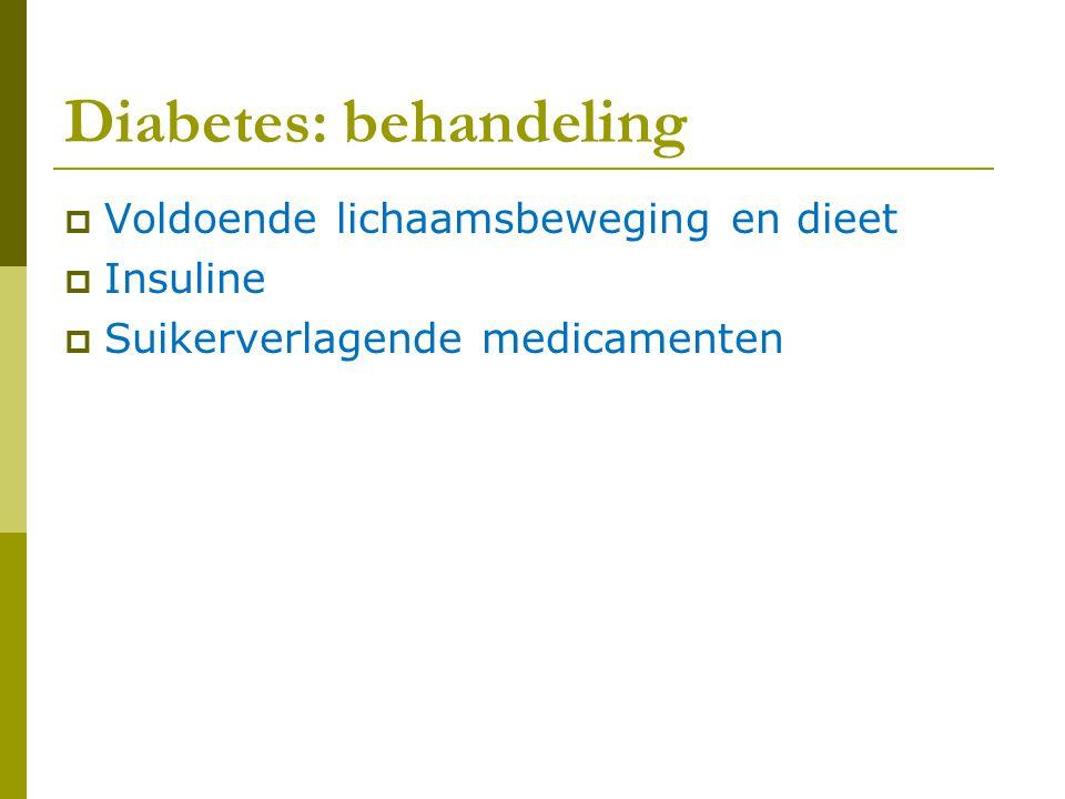Diabetes: behandeling  Voldoende lichaamsbeweging en dieet  Insuline  Suikerverlagende medicamenten