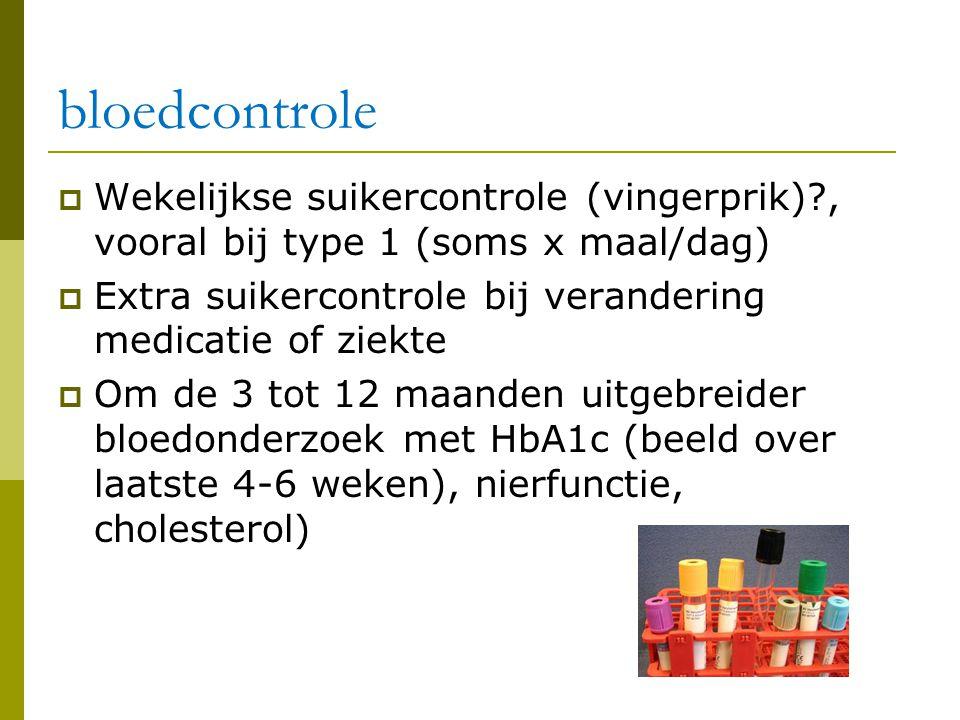 bloedcontrole  Wekelijkse suikercontrole (vingerprik)?, vooral bij type 1 (soms x maal/dag)  Extra suikercontrole bij verandering medicatie of ziekt