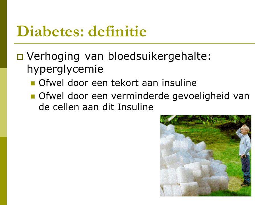 Diabetes: definitie  Verhoging van bloedsuikergehalte: hyperglycemie  Ofwel door een tekort aan insuline  Ofwel door een verminderde gevoeligheid v