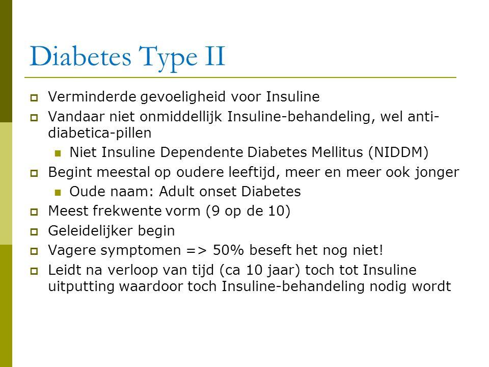 Diabetes Type II  Verminderde gevoeligheid voor Insuline  Vandaar niet onmiddellijk Insuline-behandeling, wel anti- diabetica-pillen  Niet Insuline