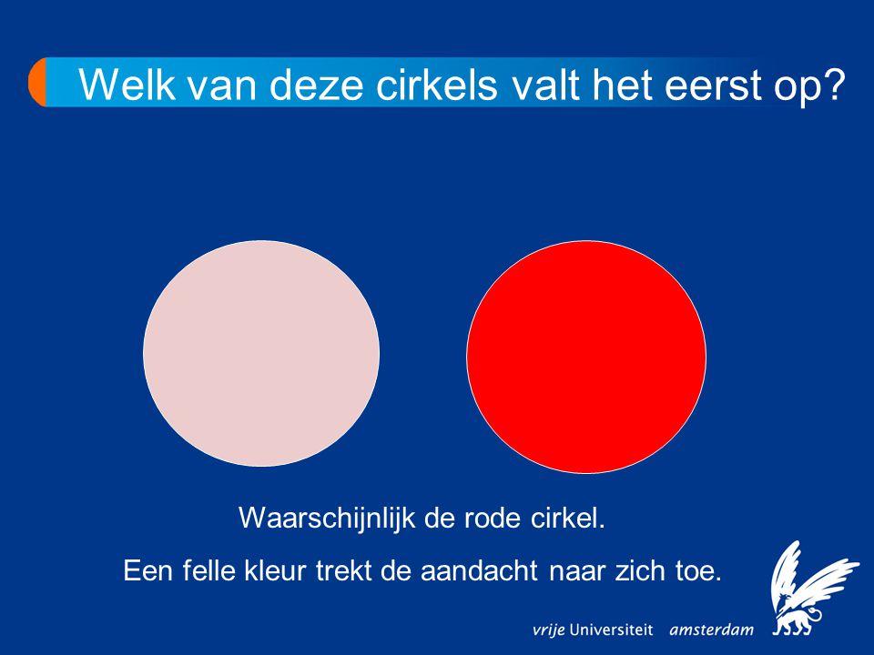 Waarschijnlijk de rode cirkel. Een felle kleur trekt de aandacht naar zich toe. Welk van deze cirkels valt het eerst op?