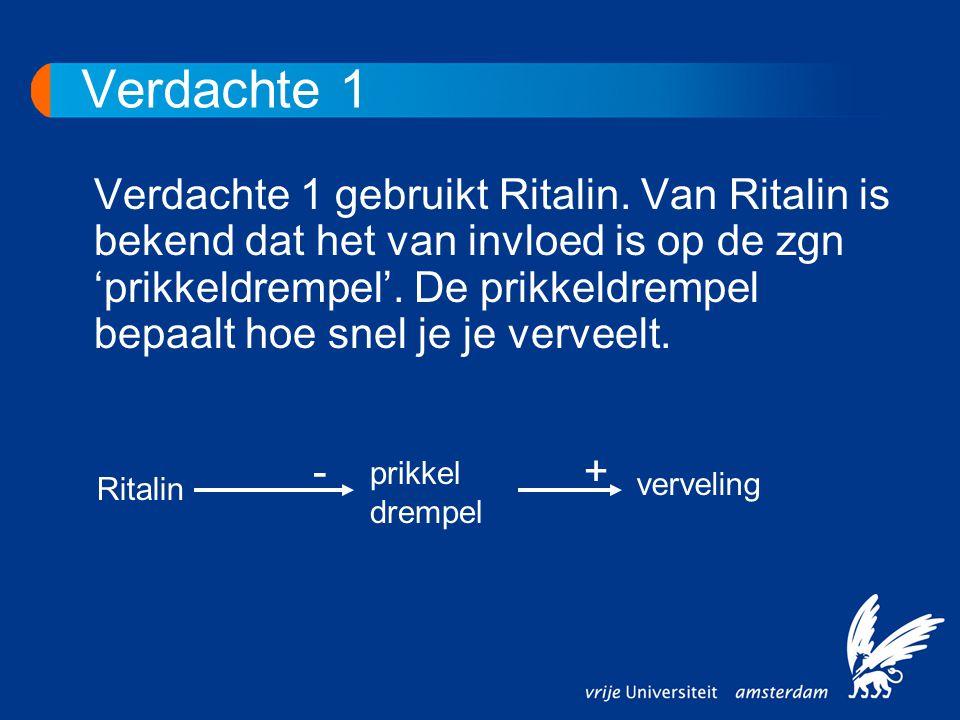 Verdachte 1 Verdachte 1 gebruikt Ritalin. Van Ritalin is bekend dat het van invloed is op de zgn 'prikkeldrempel'. De prikkeldrempel bepaalt hoe snel