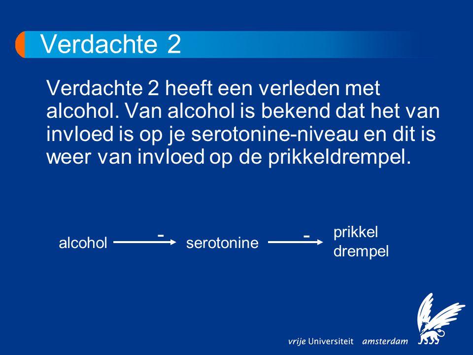 Verdachte 2 Verdachte 2 heeft een verleden met alcohol. Van alcohol is bekend dat het van invloed is op je serotonine-niveau en dit is weer van invloe