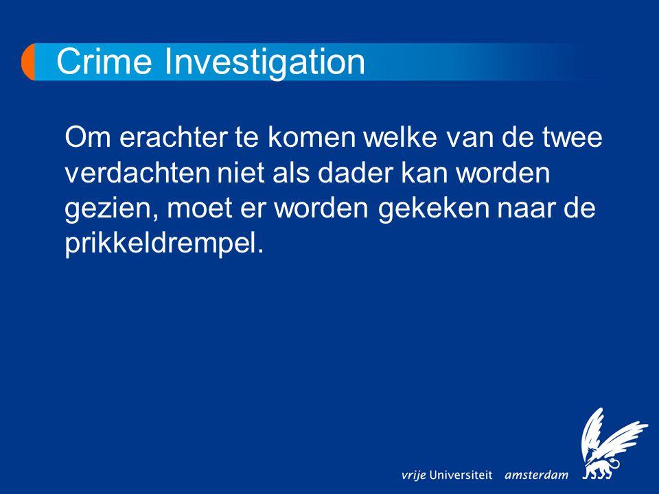 Crime Investigation Om erachter te komen welke van de twee verdachten niet als dader kan worden gezien, moet er worden gekeken naar de prikkeldrempel.