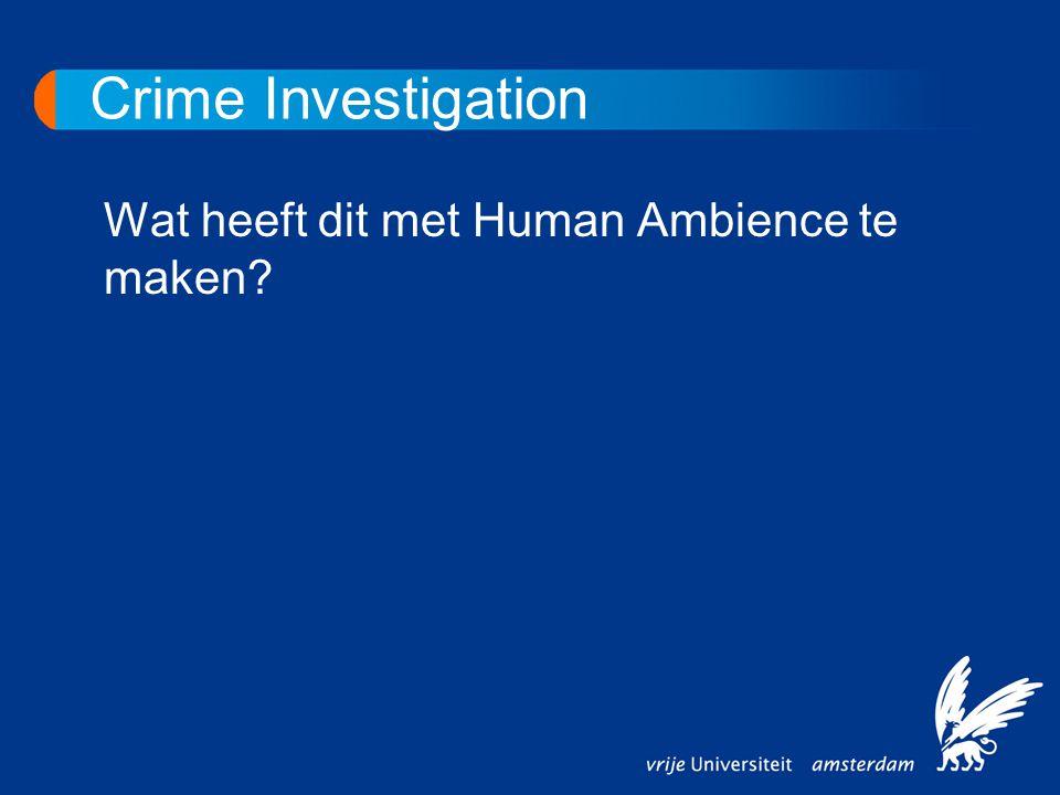 Crime Investigation Wat heeft dit met Human Ambience te maken?