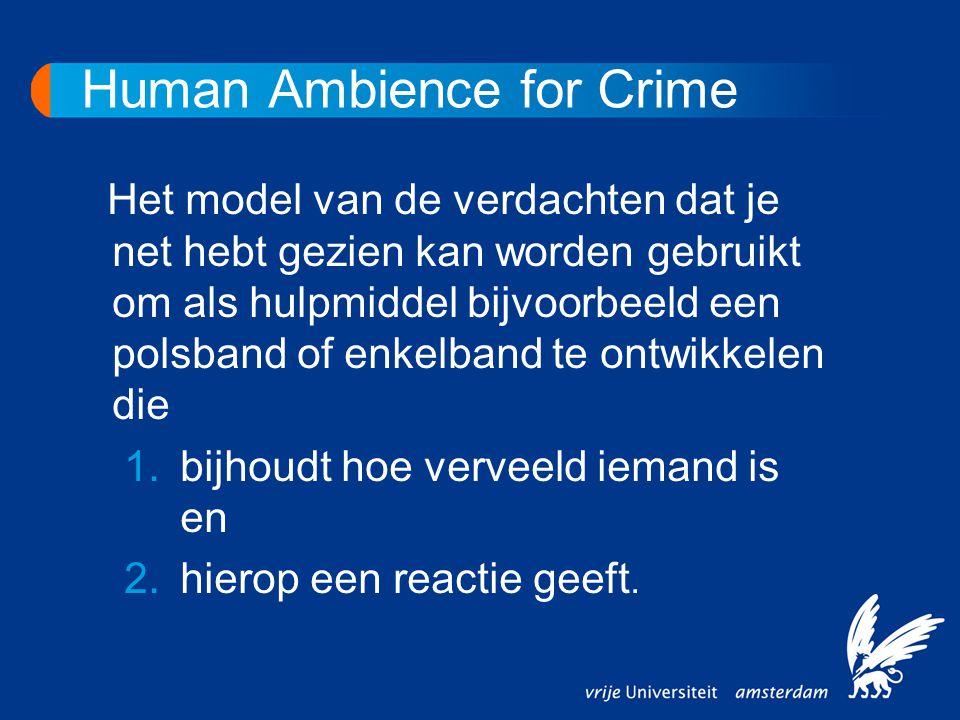 Human Ambience for Crime Het model van de verdachten dat je net hebt gezien kan worden gebruikt om als hulpmiddel bijvoorbeeld een polsband of enkelba