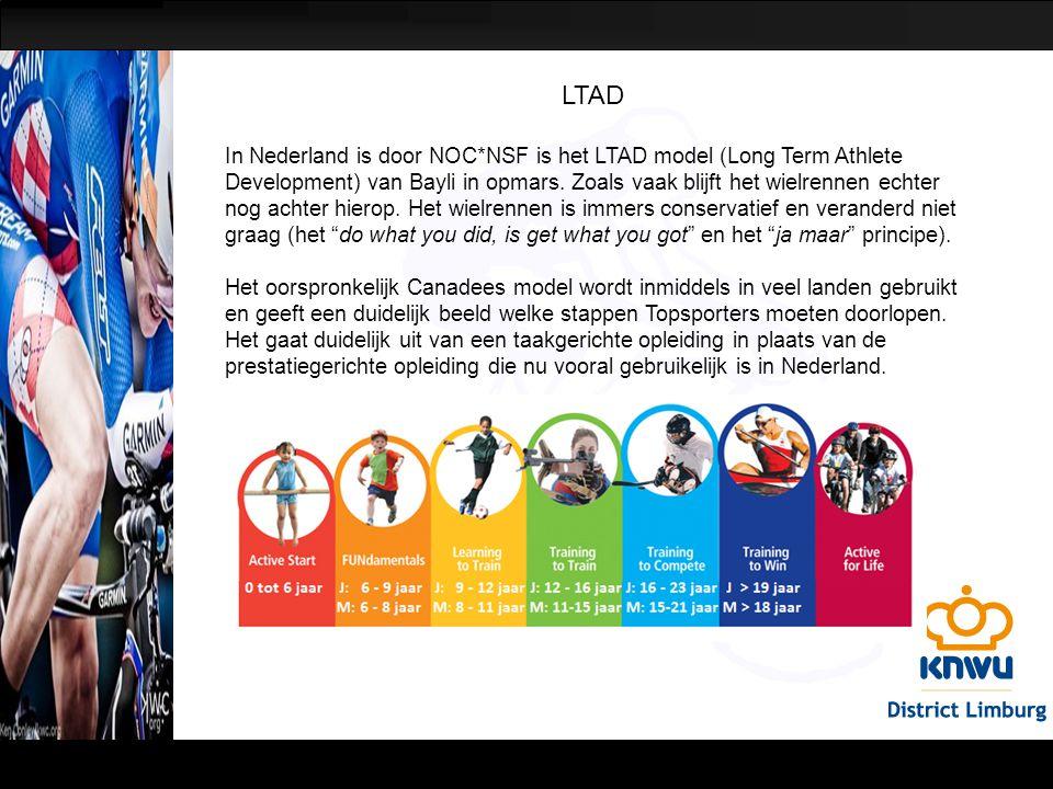 LTAD In Nederland is door NOC*NSF is het LTAD model (Long Term Athlete Development) van Bayli in opmars. Zoals vaak blijft het wielrennen echter nog a